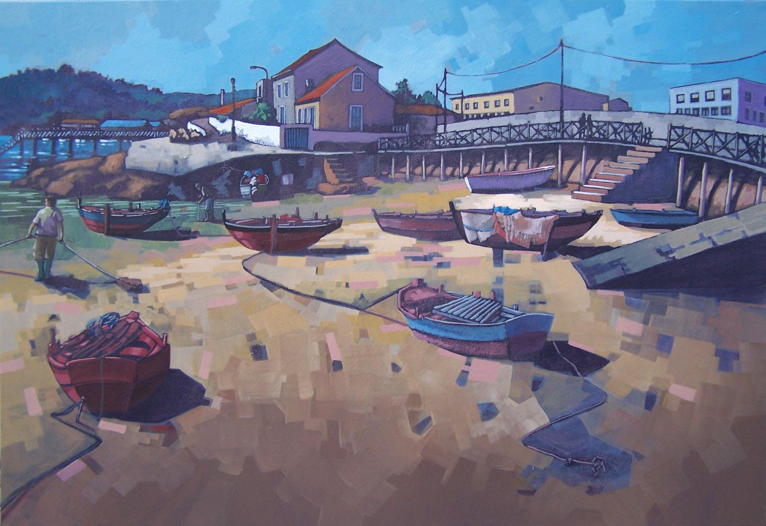 """""""Porto Meloxo"""" de Eduardo Baamonde obra gañadora do  III Concurso Ernesto Goday de pintura do Concello do Grove"""