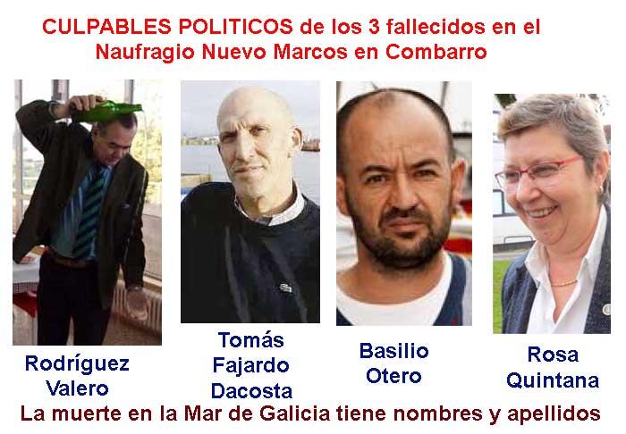 Pladesemapesga apunta a las NEFASTAS gestiones de Rosa Quintana el reguero de cadáveres por el litoral de Galicia a lo que se suma el Naufragio con 3 fallecidos del pesquero Nuevo Marcos en Combarro