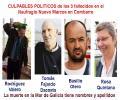 Rodríguez Valero de la DGMM, Sr Fajardo y Sr Basilio Otero y Rosa Quintana están sentados politicamente sobre los cadáveres de los 3 fallecidos del Naufragio pesquero Nuevo Marcos en Combarro.