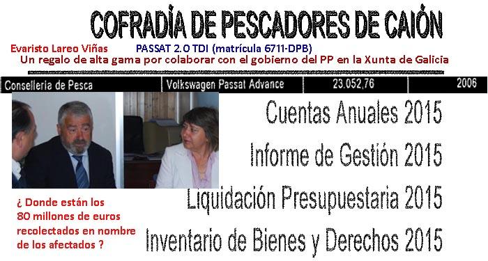 Rosa Quintana y Feijóo siguen sin dar explicaciones sobre el desfalco  multimillonario de las ayudas del Prestige ni del regalo de un PASSAT 2.0  TDI (matrícula 6711-DPB) a la cofradía del autor.
